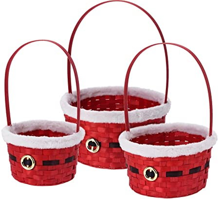 Christmas Hamper Basket.Theme Machine Set Of 3 Red Christmas Wicker Baskets Christmas Hamper Baskets Fill With Craft Gifts Or Make Hampers