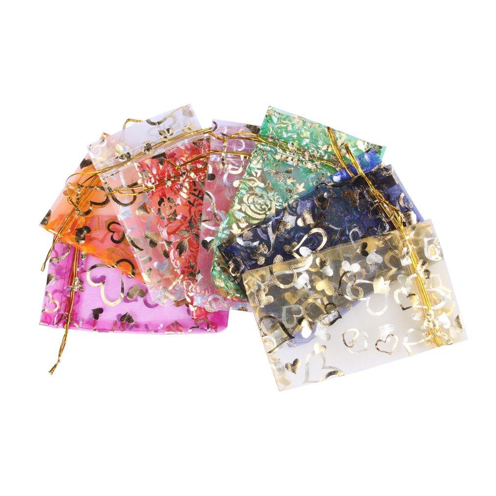 Eozy 100 Stück Bunt 10x15cm Säckchen mit golden Muster für Geschenck Schmuck Verpackung XKO