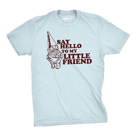 c0e3058fa2 Say Hello to My Little Friend Tshirt Funny Lawn Gnome Movie Quote Tee (Blue)