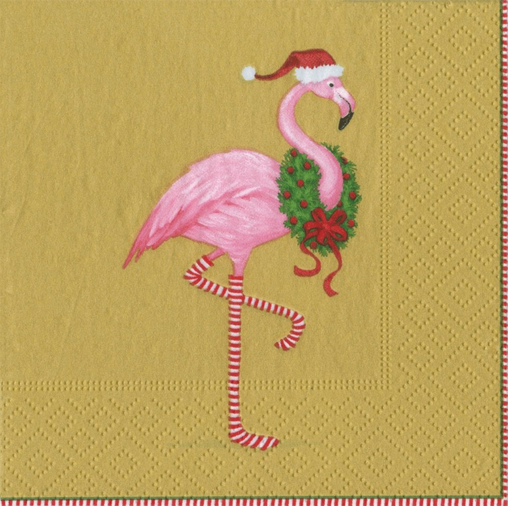 Entertaining with Caspari Christmas Flamingo Cocktail Napkins, Gold