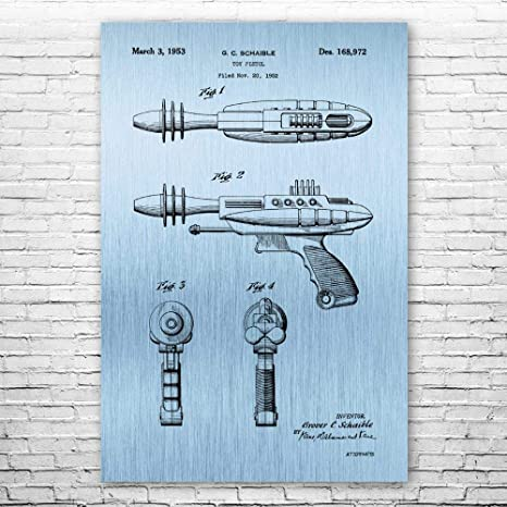 Toy Store Art Sci Fi Gift Futuristic Art Retro Toy Art Retro Space Ray Gun Poster Print Ray Gun Blueprint Geek Gift Outer Space Decor
