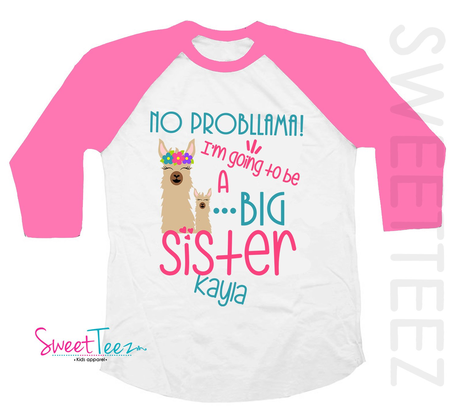 Big Sister Shirt, Llama Shirt, Personalized Big Sister Shirt, Gift For Big Sister To Be, Pregnancy Announcement Shirt