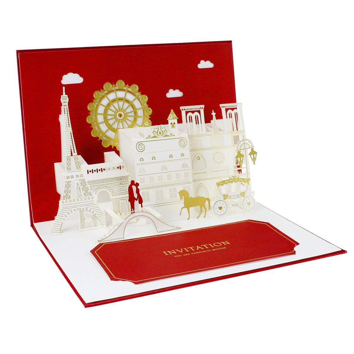 Weeygo Fall in Love Wedding Card Pop Up Valentine Card 3D ...