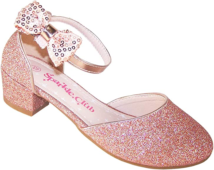 Girls Rose Gold Sparkly Glitter Low