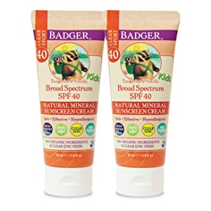 Badger - SPF 40 Kids Clear Sport Sunscreen Cream with Zinc Oxide for Face & Body, Broad Spectrum & Water Resistant Reef Safe Sunscreen, Natural Mineral Sunscreen, 2.9 fl oz (2 Pack)