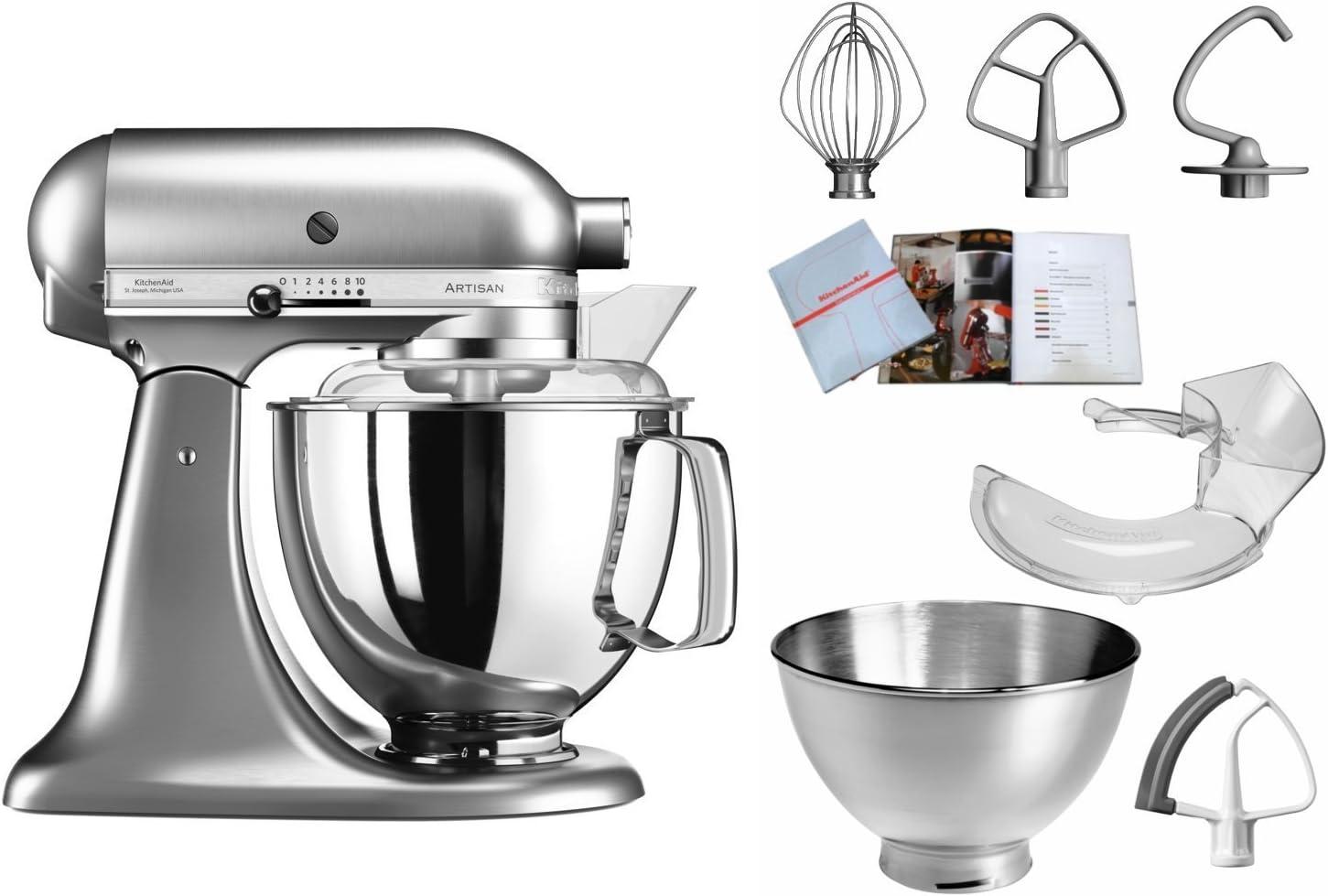 KitchenAid Artisan - Robot de cocina (4,8 L, Níquel, palanca, 220 RPM, 1,454 m, AC): Amazon.es: Hogar