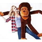 YunNasi 110cm Chimpanzé Peluche Géant en Chimpanzé Grand Singe Grose Animal Cadeau D'enfant Jouet en Coton