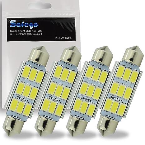Safego 4 x 42mm LED Canbus 9SMD 5730 Luz Interior de Coche Festón Lámpara Blanco Numero ...