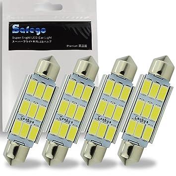 Safego 4 x 42mm LED Canbus 9SMD 5730 Luz Interior de Coche Festón Lámpara Blanco Numero