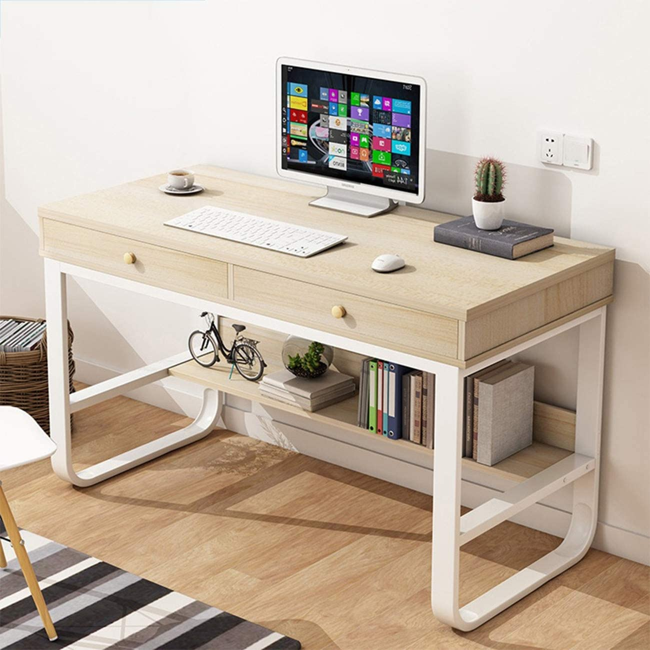 47'' Desktop Computer Desk with 2 Drawers, Home Office Multi-Layer Storage Study Writing Table Computer Gaming Table Bedroom Laptop Study Table Bookcase,US Shipping (White)
