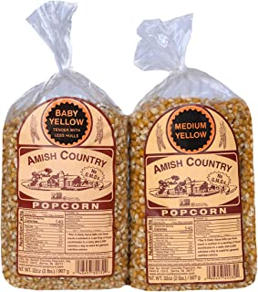 product image for Amish Country Popcorn | 2 -2 lb Bags | 2 lb Baby Yellow and 2 lb Medium Yellow Popcorn Kernels | Old Fashioned with Recipe Guide