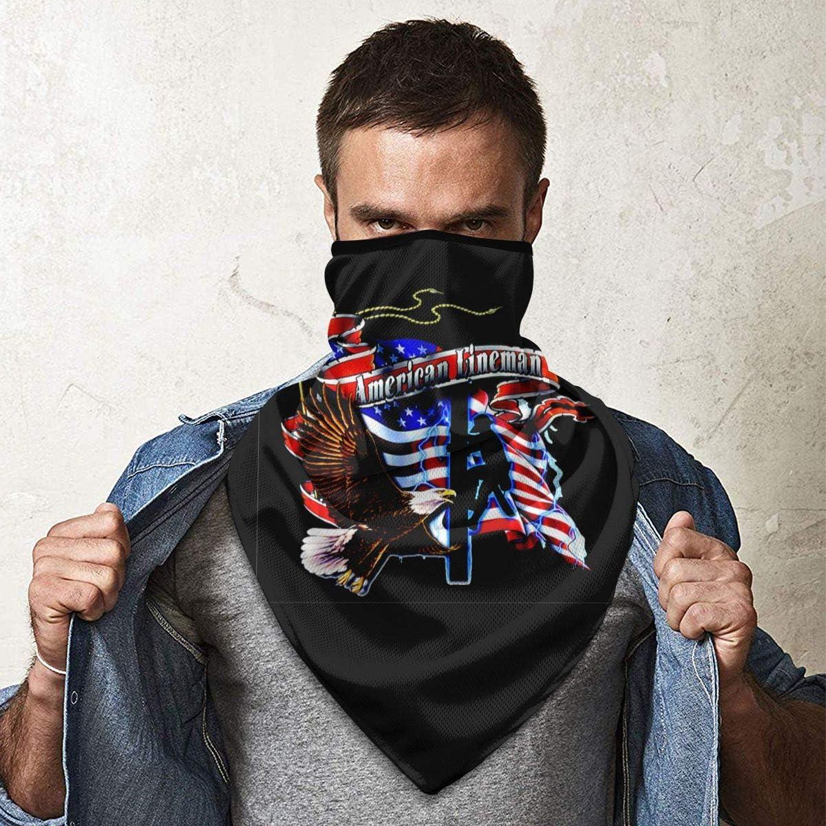 USA Flag Lineman Outdoor Face Mouth Mask Windproof Sports Mask Ski Mask Shield Scarf Bandana Men Woman
