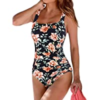 Hilor Women's Swimwear V-Neck One-Piece Swimsuits Bikinis Criss Cross Monokinis Bathing Suit