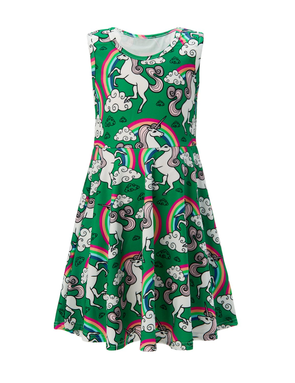 6t 7t Little Girl\'s Skater Dress Cartoon Unicorn Holiday Garments a line Girl\'s Wear Autumn Play Sundress 6 7 Yrs (Green Unicorn, 6-7 T)