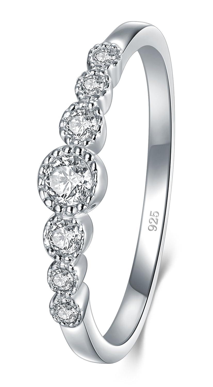 Boruo Cubic Zirconia CZ Diamond Eternity Engagement Wedding Band Ring 925 Sterling Silver Ring