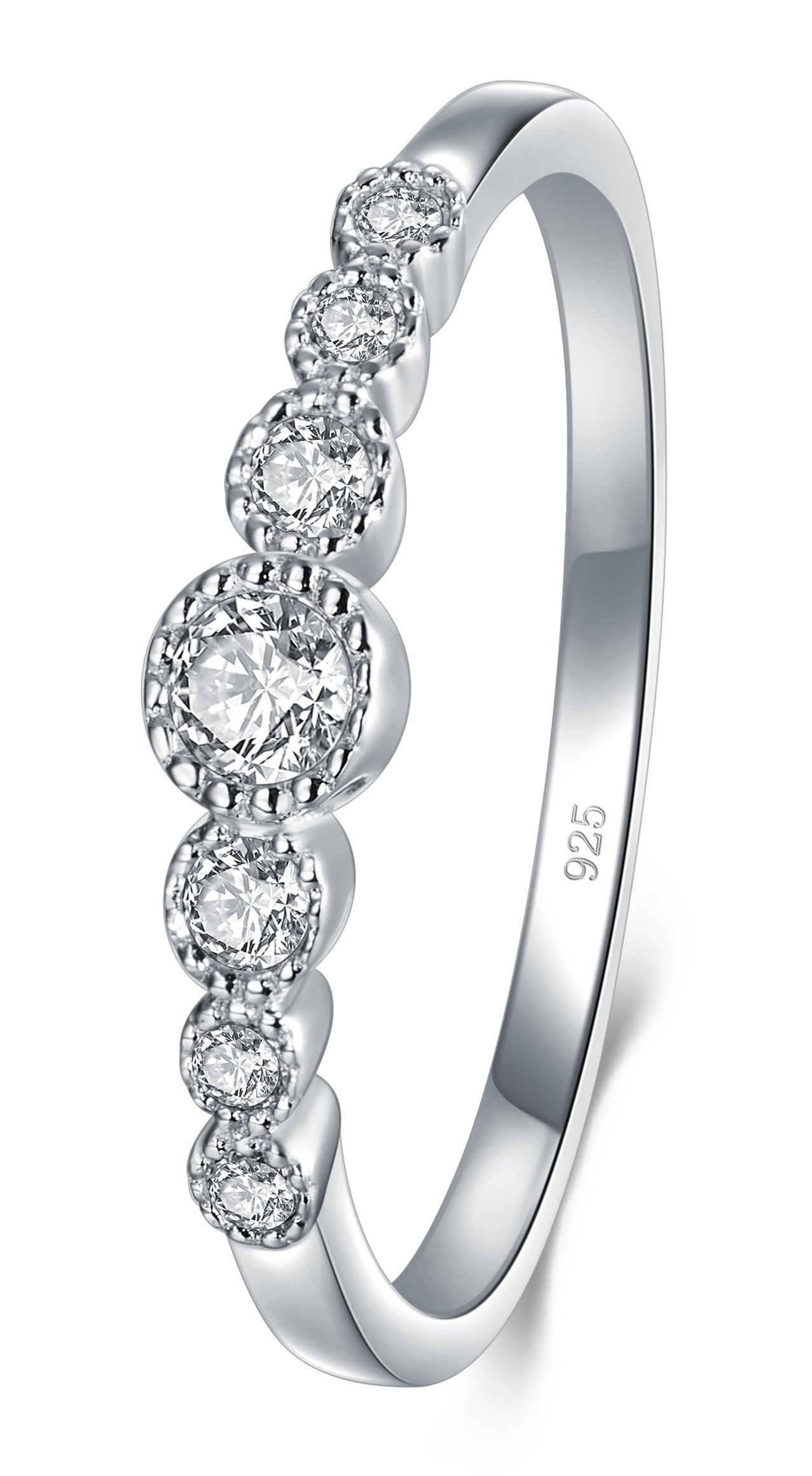 d9d81cc27 BORUO 925 Sterling Silver Ring, Cubic Zirconia CZ Diamond Eternity  Engagement Wedding Band Ring product