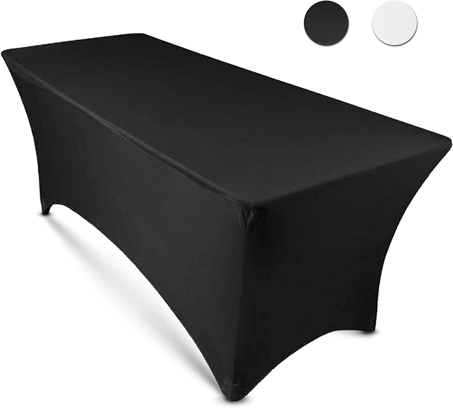 8ft Tablecloth Rectangular Spandex Linen - Black Table Cloth Fitted Cover for 8 Foot Folding Table, Wedding Linens Banquet Cloths Rectangle Covers: Kitchen & Dining