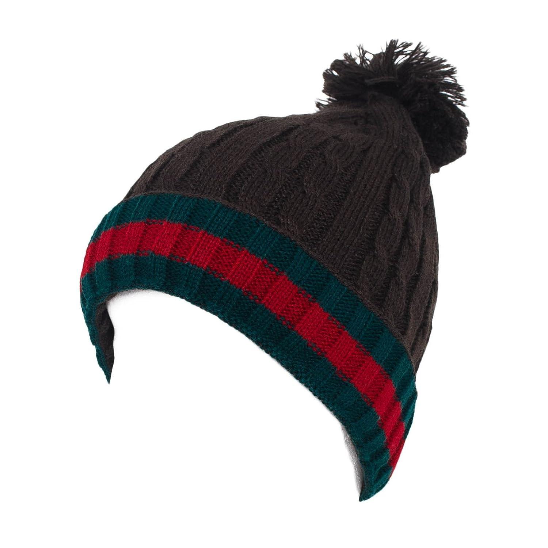 af4e3093a89 d2d Men s Ladies Bobble Beanie Hat Plain Knitted - Black at Amazon Women s  Clothing store