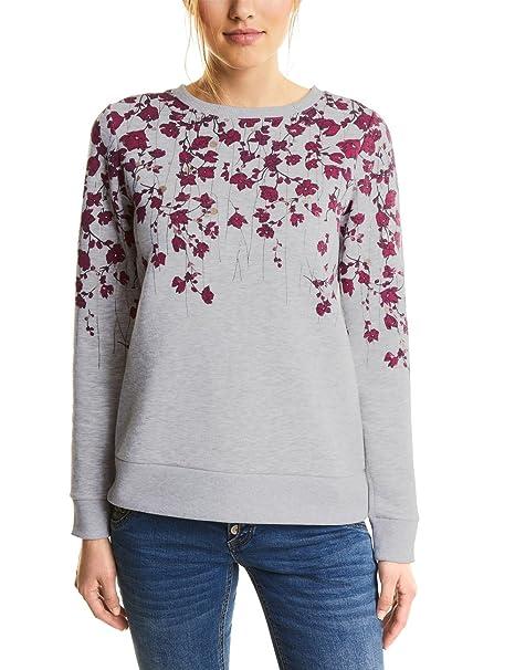 Sweatshirt Femme Grau Grey Shirt Street Flower One Printed Melange cyber Sweat yCa76tYqw6