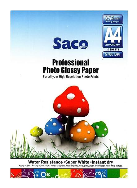 Saco Ultra thin Photo Glossy Paper A4-254 GSM - 20 Sheets
