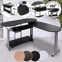 Miadomodo Bureau Table pour Ordinateur PC d'angle d'angle avec Plan latéral extractible Couleur à Choix