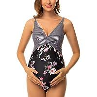 Ziola Womens Maternity Swimsuit One Piece Front Cross Swimsuit V-Neck Pregnancy Swimwear Monokini