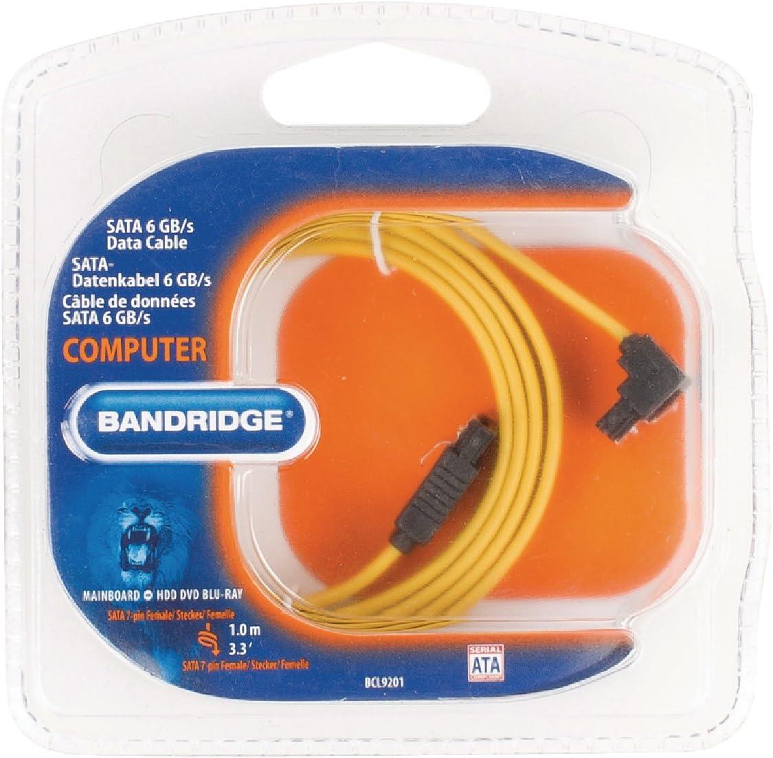 Bandridge BCL9201/Data Cable 6GB//s SATA 7/Pin Female 90/Degree Angled 1/m Yellow