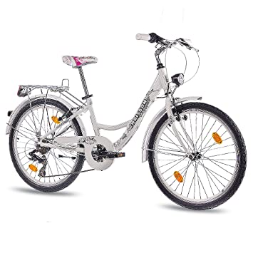 CHRISSON 24 pulgadas aluminio City Bike juvenil Cilindro de chica bicicleta relaxia con 7 velocidades