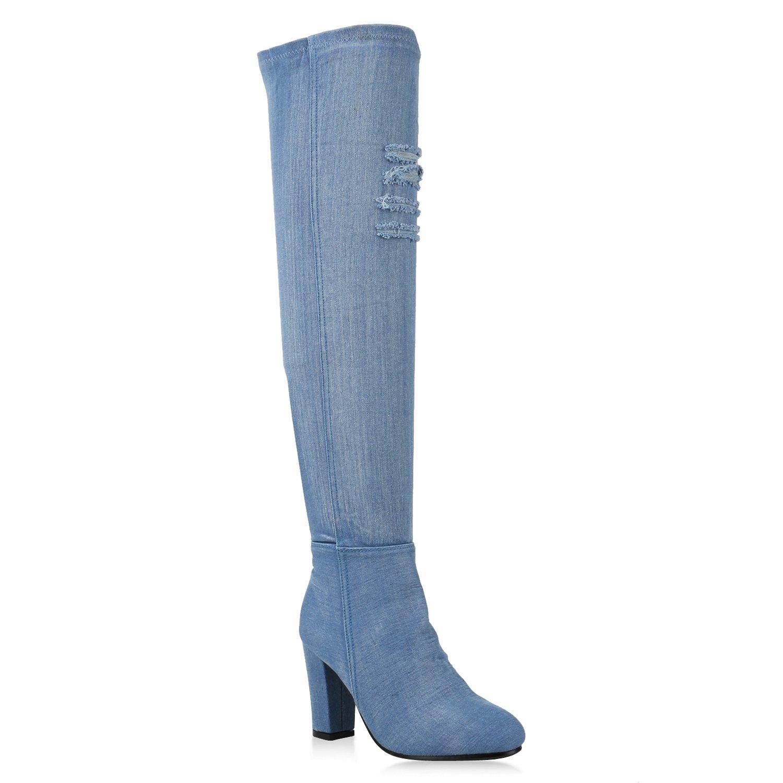 Stiefelparadies Damen Stiefel Overknees mit Blockabsatz Flandell Blau Avelar