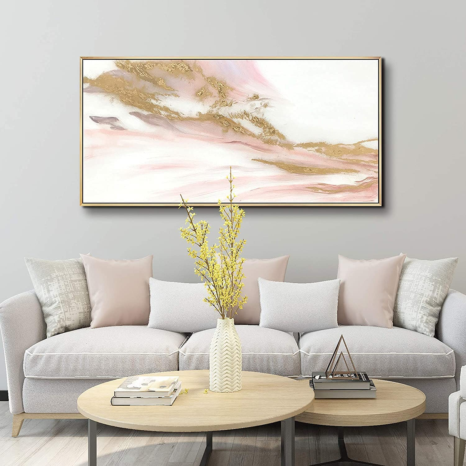 ARTLAND Canvas Prints Modern Abstract Wall Decor Water Flow Shape Contemporary Pink Gold Marble Pattern Wall Art for Living Room Bedroom Gallery Wrapped Ready to Hang 20x40 inches