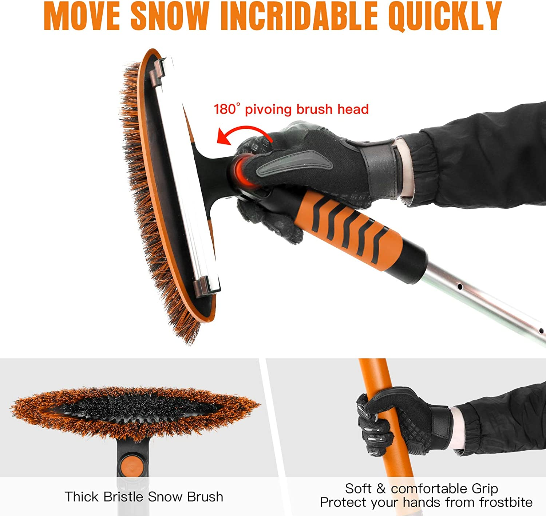 AURELIO TECH 52 Extendable Snow Brush Shovel /& Ice Scraper Auto Windshield Snowbrush Long Handle Removal Tool Winter for Car SUV Trucks
