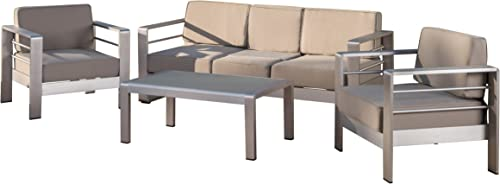 Christopher Knight Home Daisy Coral Outdoor Aluminum Chat Set
