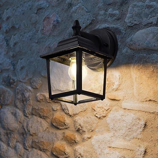 Apliques Inicio Fashion Wall Light, Retro Outdoor Corridor Impermeable jardín Patio luz de Pared Negro Aluminio Wai Pared lámpara de Pared E27 - HMLIFE: Amazon.es: Hogar