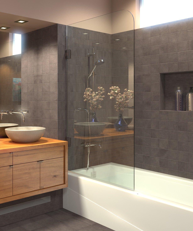 Ark Showers Frameless Bathtub Shower Screen, Pivot Door, 60 X 30, 5/16 (8mm) Glass With Round Top Corner, Polished Chrome Hinges. Model 603008SHR