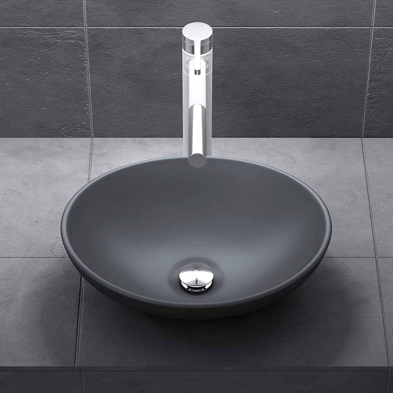 Mai /& Mai lave main /évier vasque 41x33,1x14 cm en c/éramique anthracite ovale sans per/çage pour robinet lavabo sans trop-plein /à poser BR205