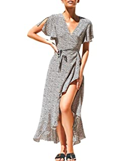 2ed57ceb84 Miessial Women's Boho V Neck Floral Chiffon Dress Backless Beach Split Maxi  Dress with Belt
