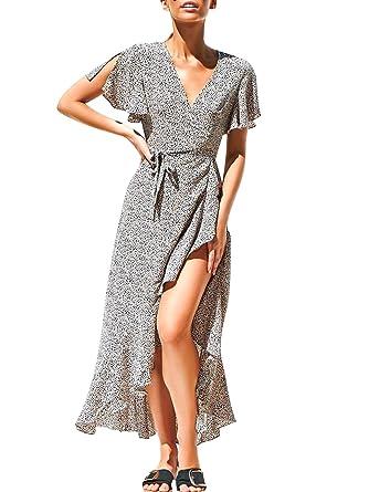 1306cc534b Simplee Women's Boho Polka Dot Dress Short Sleeve V Neck Split Flowy Ruffle  Asymmetrical Maxi Dress