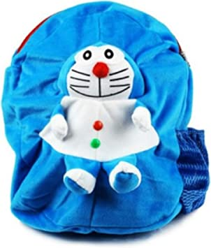 Himleyars Boys and Girls Fabric Doraemon Cute Teddy Soft Toy Sky Blue School Bag