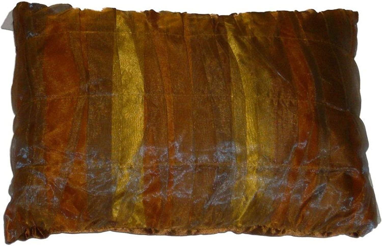 NorthCrest Home Classic Gold Pleated Taffeta Throw Pillow Elegant Toss Accent