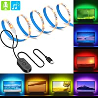 MINGER MusicPro RGB LED Strip Lights, Multi Color TV Backlight Bias Lighting Kit with Controller, 6.6ft Waterproof, 7 Colors to Choose, USB Powered