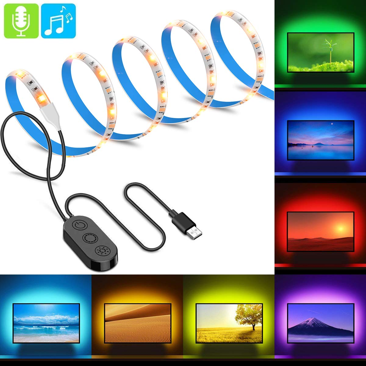 MINGER TV LED Strip Lights 6.56ft 5050 LED TV Backlight Strip USB Music TV Backlighting Built in MIC Changing Color Strip Kit Bias Monitor Lighting Waterproof Bias Lighting for HDTV Desktop PC