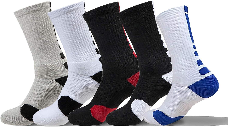 VLUNT 5 Pares Calcetines Deportivos Hombre, Transpirable Calcetine de Baloncesto, Tenis, Correr, Gimnasio, Uso Diario