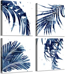 Natural Picture Leaf Artwork Paintings: Palm Leaves Graphic Art Print on Canva Set for Wall Murals