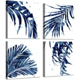 """ARTISTIC PATH Natural Picture Leaf Artwork Paintings: Palm Leaves Graphic Art Print on Canva Set for Bedroom (16"""" W x 16"""" H x"""