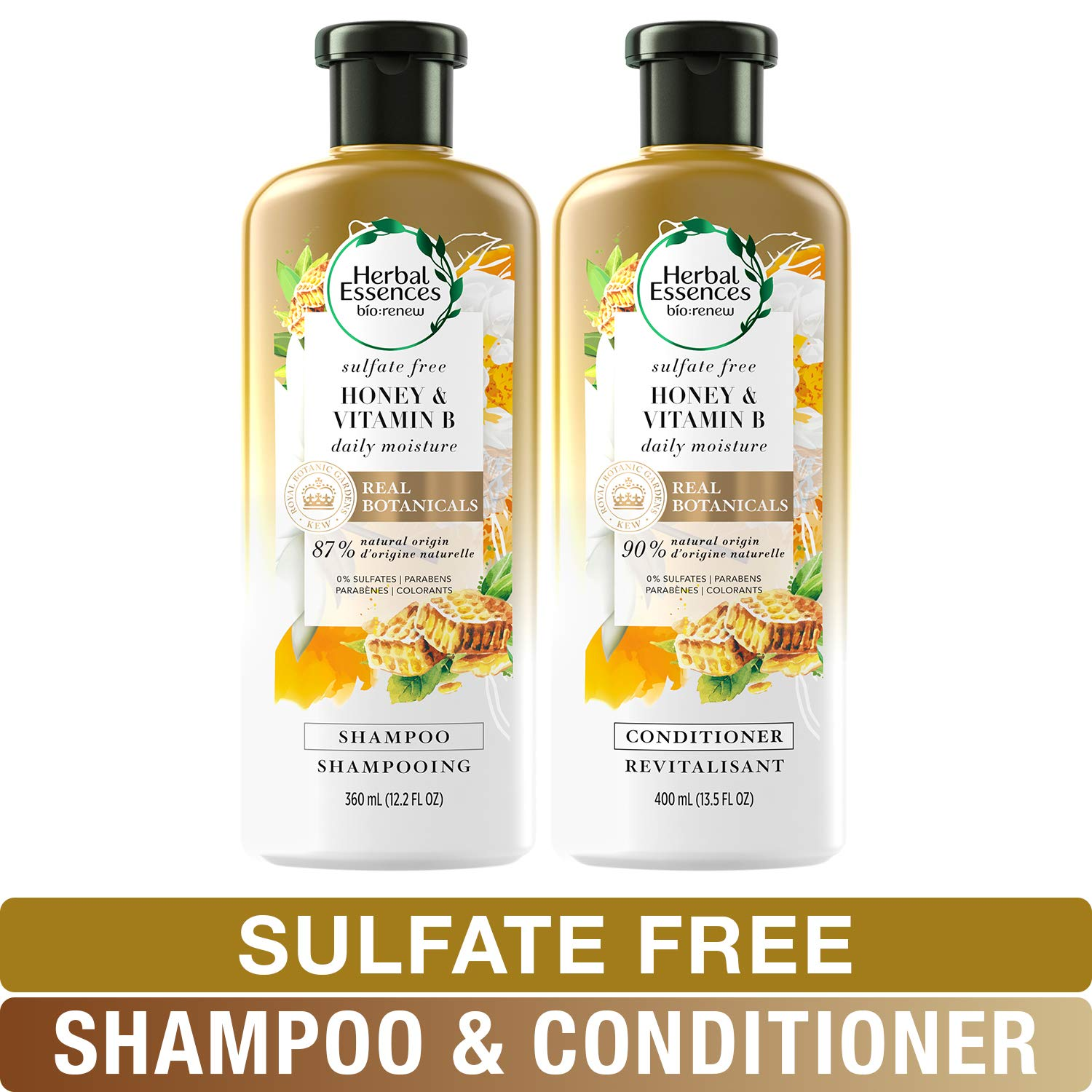 Herbal Essences Sulfate Free Shampoo and Conditioner Kit, BioRenew Honey & Vitamin B, Safe for Color Treated Hair 13.5 & 12.2 fl oz, Kit by Herbal Essences