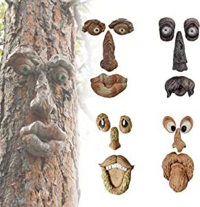 Old Man Tree Hugger Yard Tree Face Decor Statues Easter Creative Props Bark Ghost Face Facial Features Decoration Whimsical Sculpture Garden Peeker Art Garden Tree Face Decor for Outdoor Funny Yard