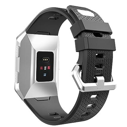 MoKo Fitbit Ionic Correas con Anillo de Sujeción, Pulsera Ajustable de Silicona Suave Correa de Repuesto del Deporte para Fitbit Ionic Smart Watch, ...