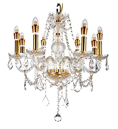 New Legend Lighting 8-Light Classic Style Gold Finish Crystal Chandelier Pendant Hanging Ceiling Lighting, 22 Wide