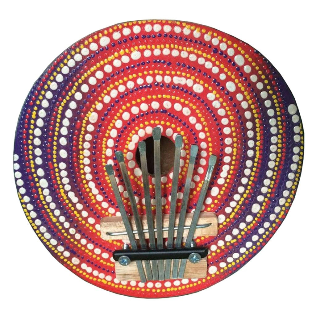 MonkeyJack Kalimba Thumb Piano 7 Keys Tunable Coconut Shell Painted Musical Instrument