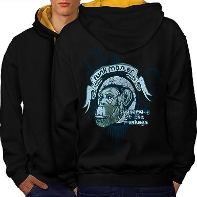 77039ffe2a5a Amazon.com  wellcoda Funk Master Ape Mens Contrast Hoodie